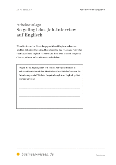 Fantastisch Interviewleitfaden Vorlage Zeitgenössisch - Ideen ...
