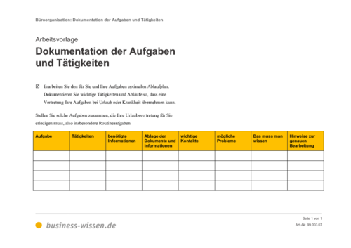 dokumentation der aufgaben und t u00e4tigkeiten  u2013 vorlage
