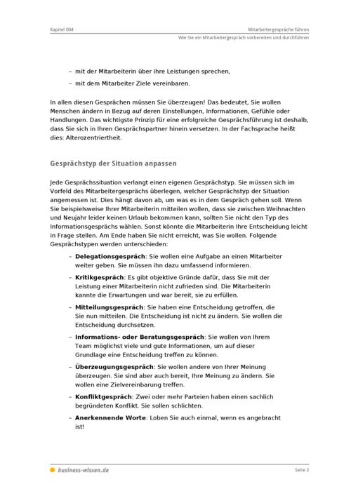mitarbeitergespräche führen - management-handbuch - business-wissen.de