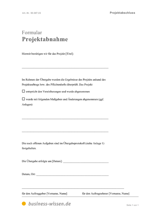 projektabnahme download business