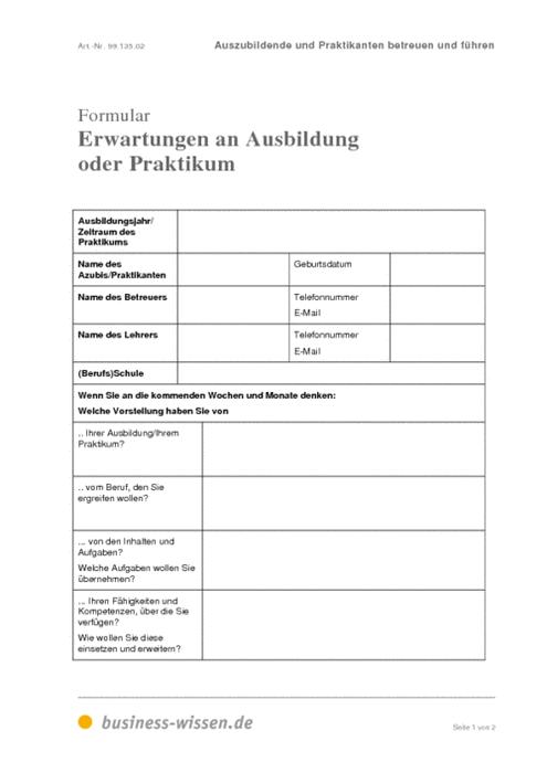 erwartungen an ausbildung oder praktikum  u2013 formular