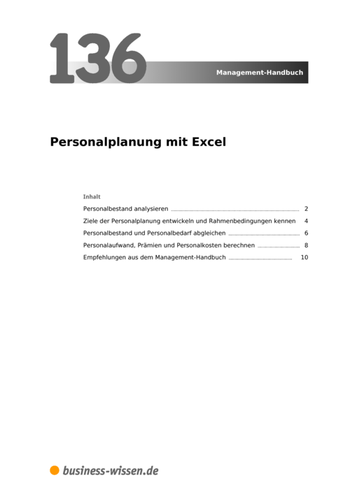 personalplanung mit excel management handbuch business. Black Bedroom Furniture Sets. Home Design Ideas