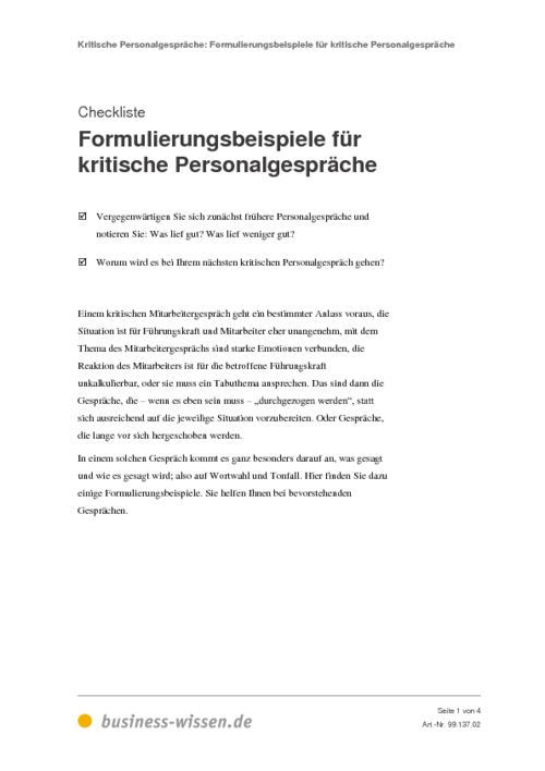 kritische personalgespräche - management-handbuch - business-wissen.de