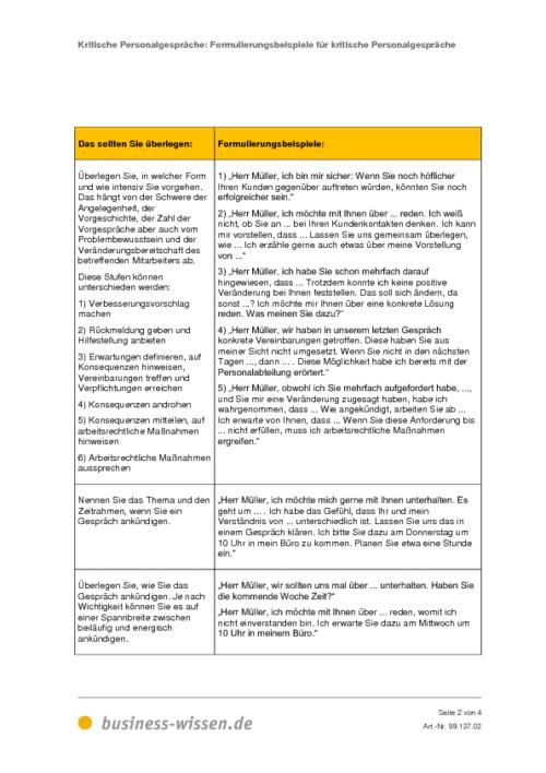 formulierungsbeispiele für kritische personalgespräche – download, Einladung