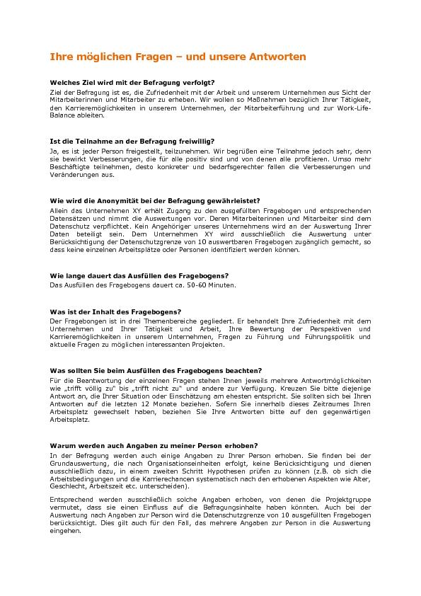 Muster-Fragebogen für Mitarbeiterbefragungen mit Muster ...