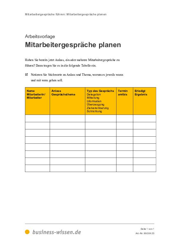 mitarbeitergespräche planen - download - business-wissen.de