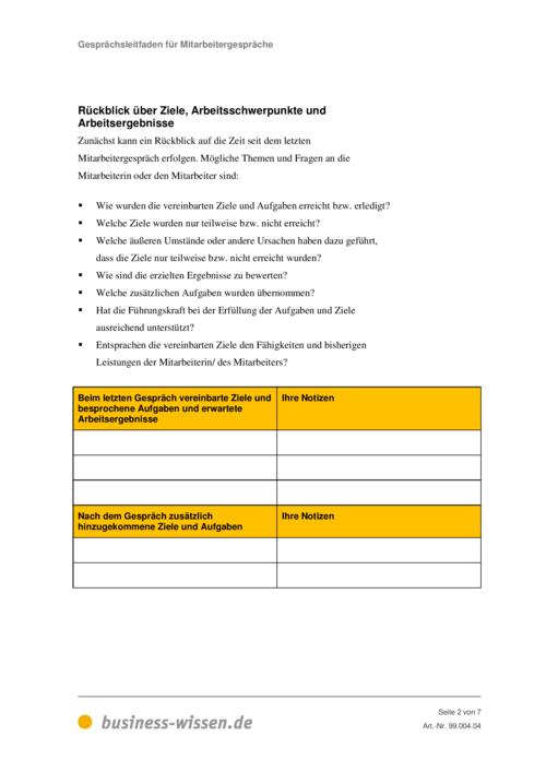 vorschau der gesprchsleitfaden fr mitarbeitergesprche - Mitarbeitergesprach Antworten Beispiele
