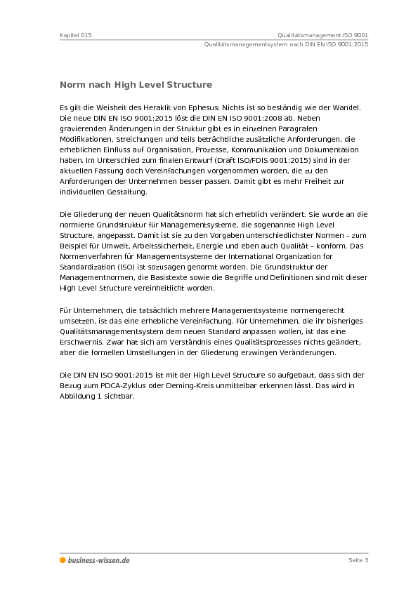 Qualitätsmanagement ISO 9001 – Kapitel 015 – business-wissen.de
