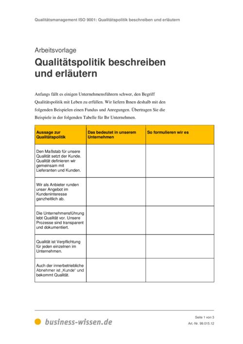 vorschau - Qualitatspolitik Beispiel