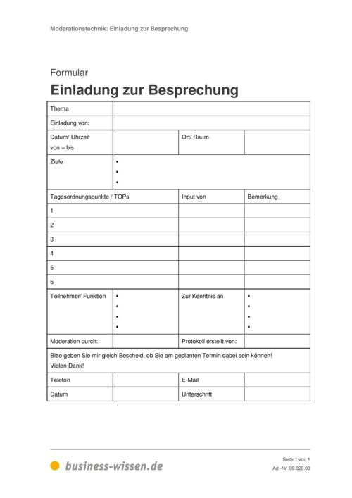 meetings moderieren – download – business-wissen.de, Einladung