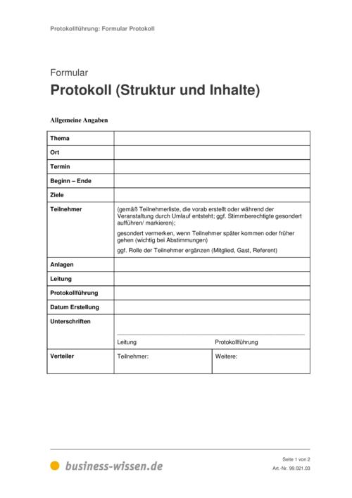 Protokoll simultan schreiben - Formular und Vorlage ...