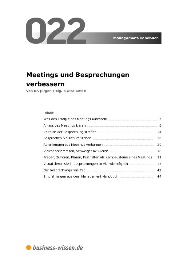 Meetings und Besprechungen verbessern – Kapitel 022 – business-wissen.de