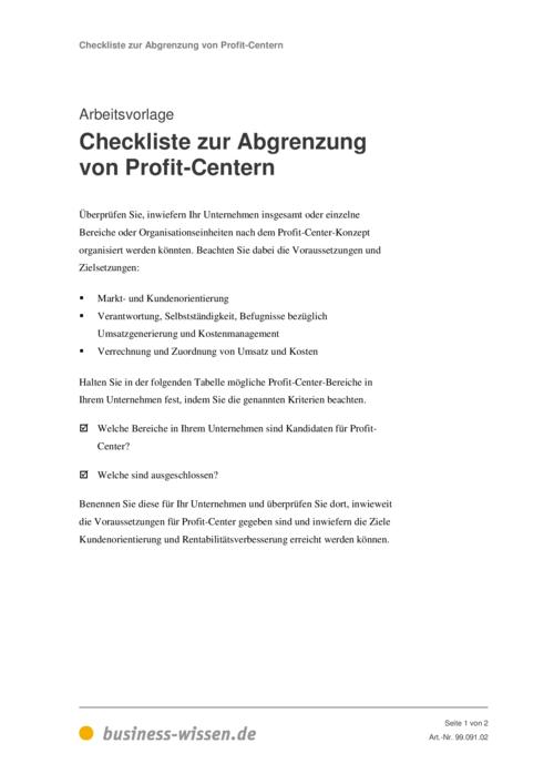 checkliste zur abgrenzung von profit centern vorlage
