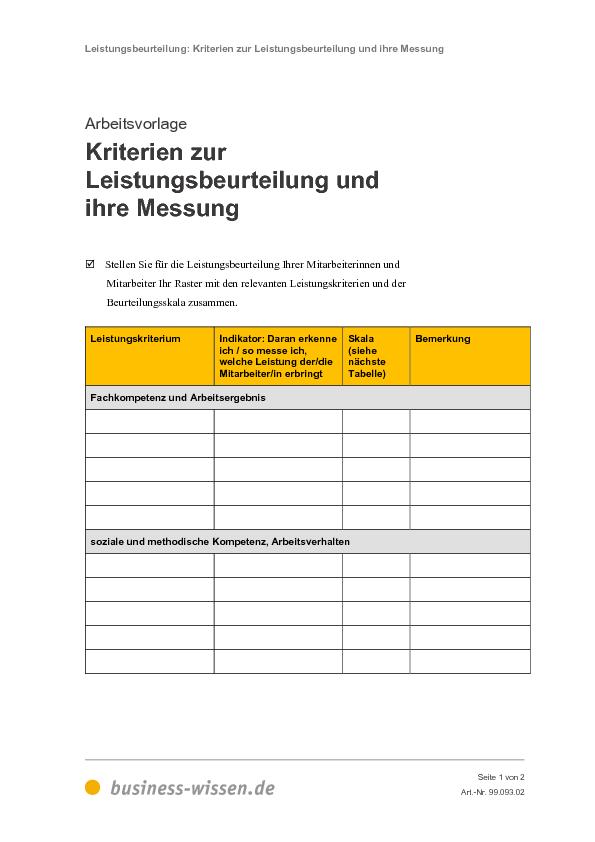 Leistungsbeurteilung – Kapitel 093 – business-wissen.de