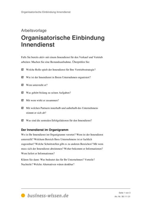 Innendienst Organisieren Kapitel 111 Business Wissende