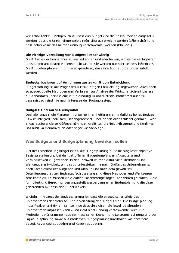 Budgetplanung – Kapitel 114 – business-wissen.de