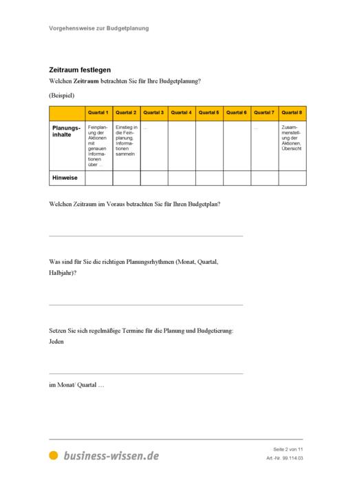 Budgetplanung – Management-Handbuch – business-wissen.de