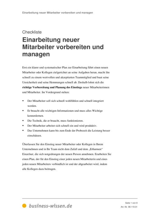 checkliste zur einarbeitung neuer mitarbeiter checkliste
