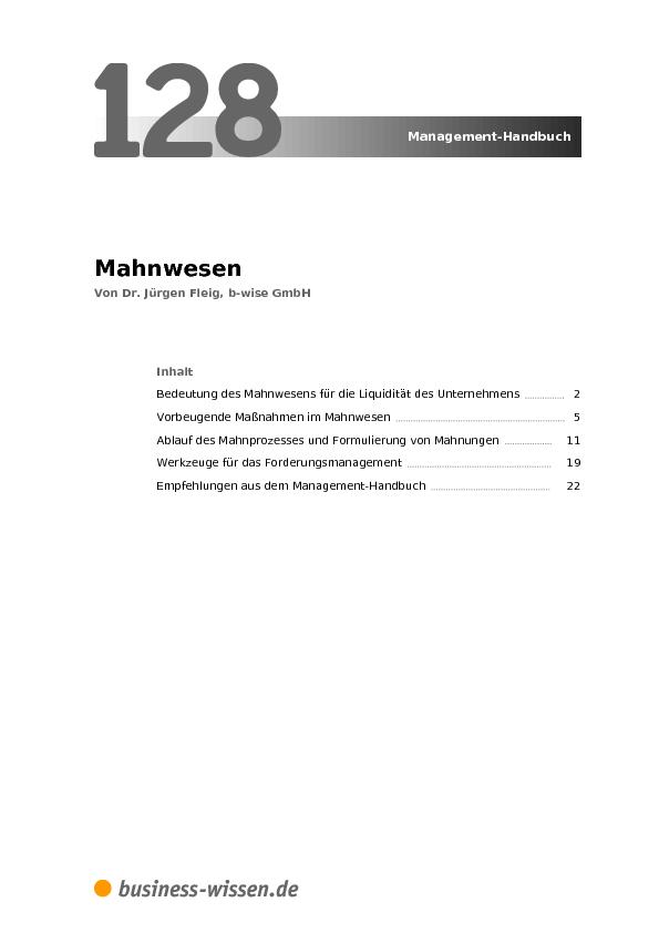 Mahnwesen Kapitel 128 Business Wissende