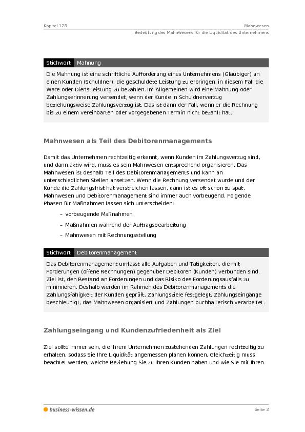 Mahnwesen Management Handbuch Business Wissende
