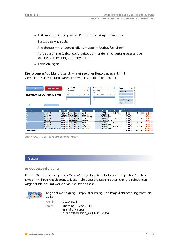 Angebotsverfolgung Und Projektsteuerung Kapitel 146 Business