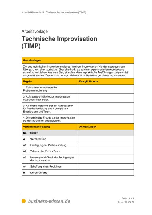 technische improvisation timp vorlage business