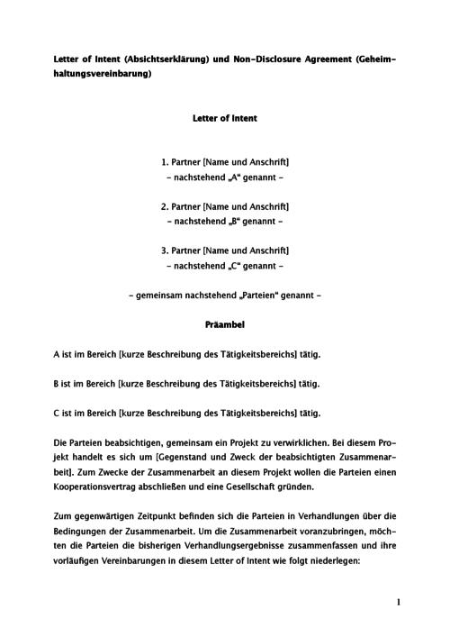 Absichtserklrung und geheimhaltungsvereinbarung vorlage vorschau spiritdancerdesigns Choice Image