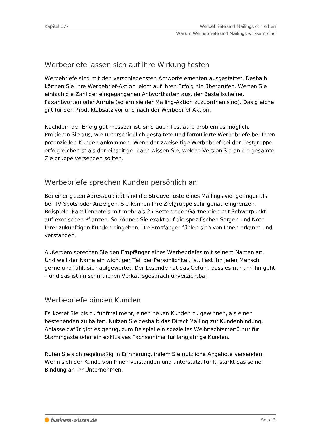 Werbebriefe Und Mailings Schreiben Management Handbuch Business Wissen De