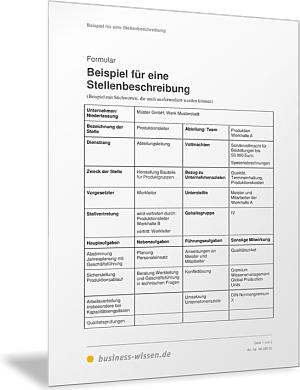 Beispiel für eine Stellenbeschreibung – Formular – business-wissen.de
