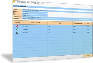 Agenda für ein Meeting - Liste Tagesordnungspunkte (TOP) und ...