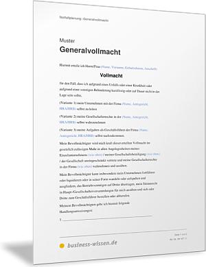 generalvollmacht - Generalvollmacht Muster