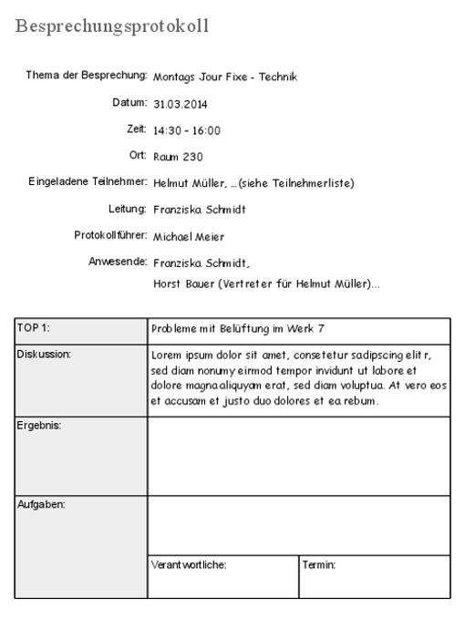 Meeting: Vorlage und Tipps fürs Besprechungsprotokoll – business ...