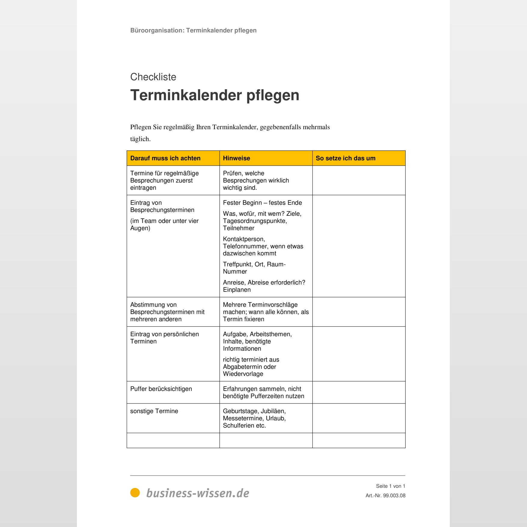 Terminkalender pflegen – Checkliste – business wissen.de
