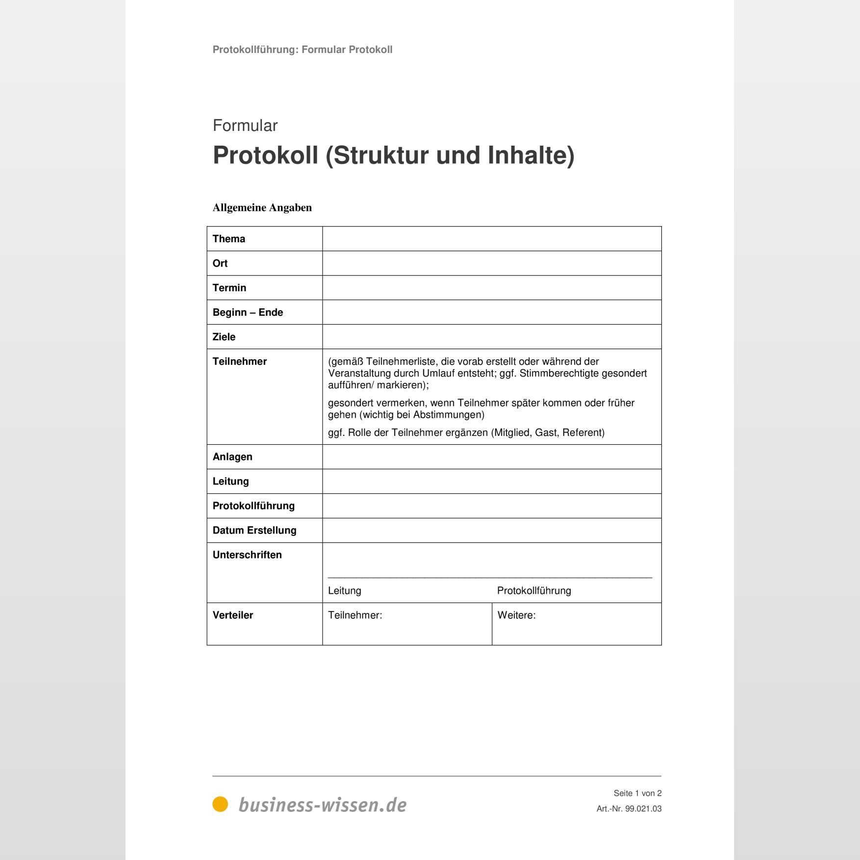 Protokoll Vorlage Ergebnisprotokoll Gratis 8