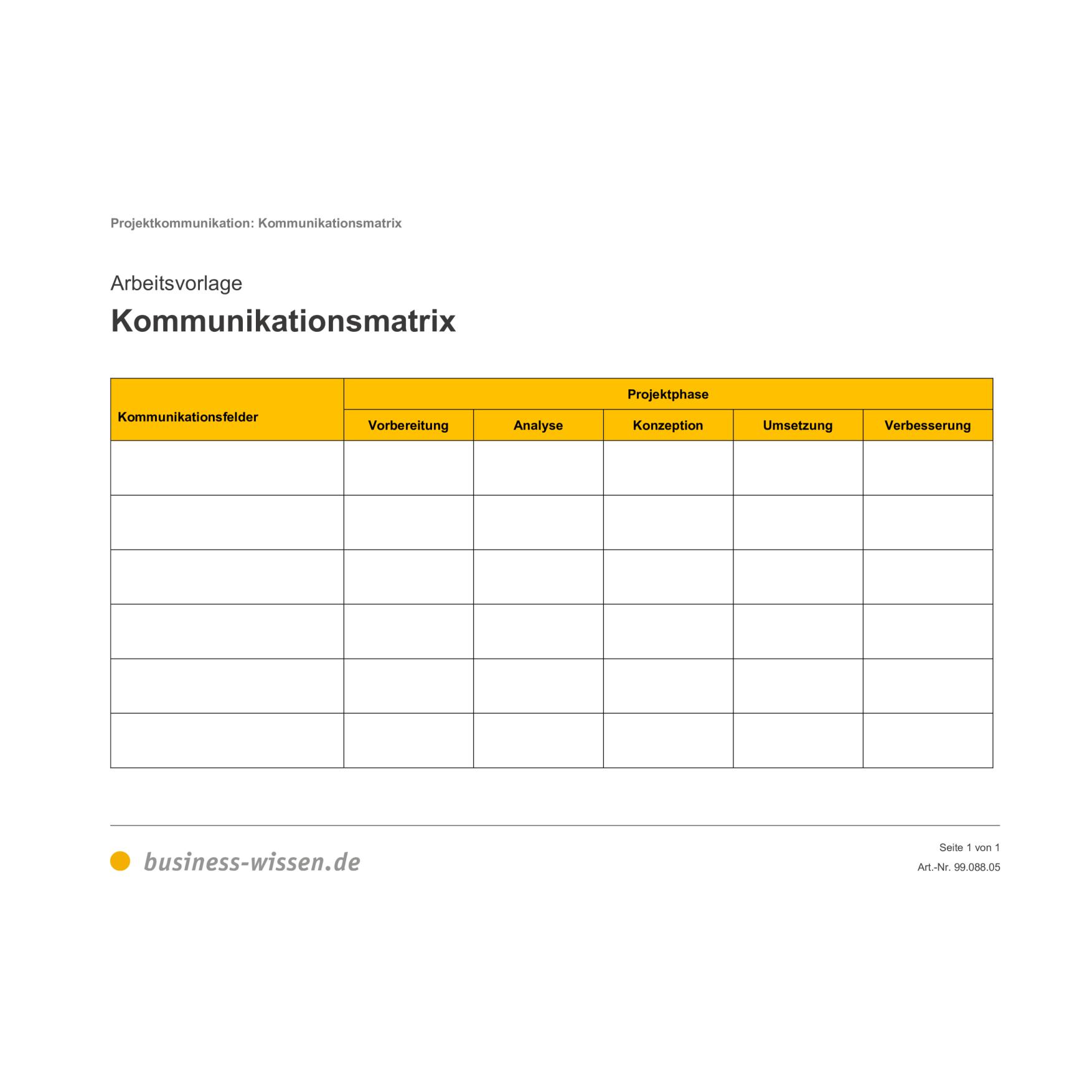 Kommunikationsmatrix Formular Vorlage Business Wissen De