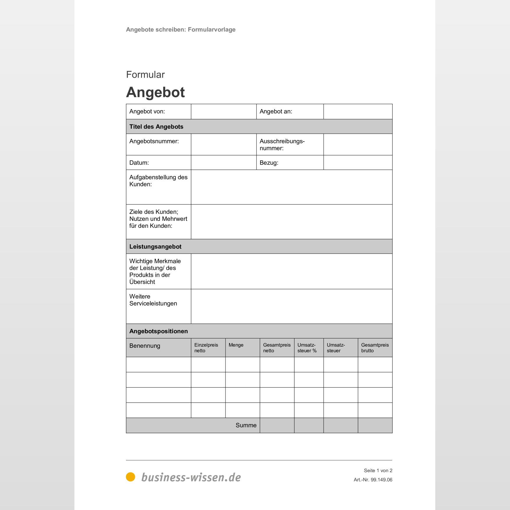 Angebotsvorlagen Und Angebotsmuster Kostenlos I Weclapp Com 7
