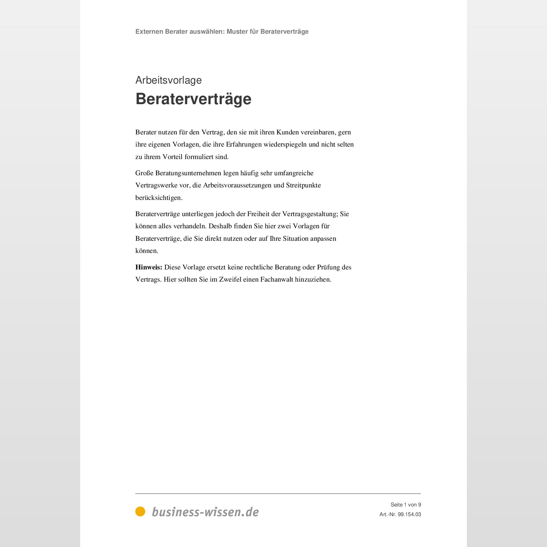Beratervertrage Beispiele Vorlage Business Wissen De