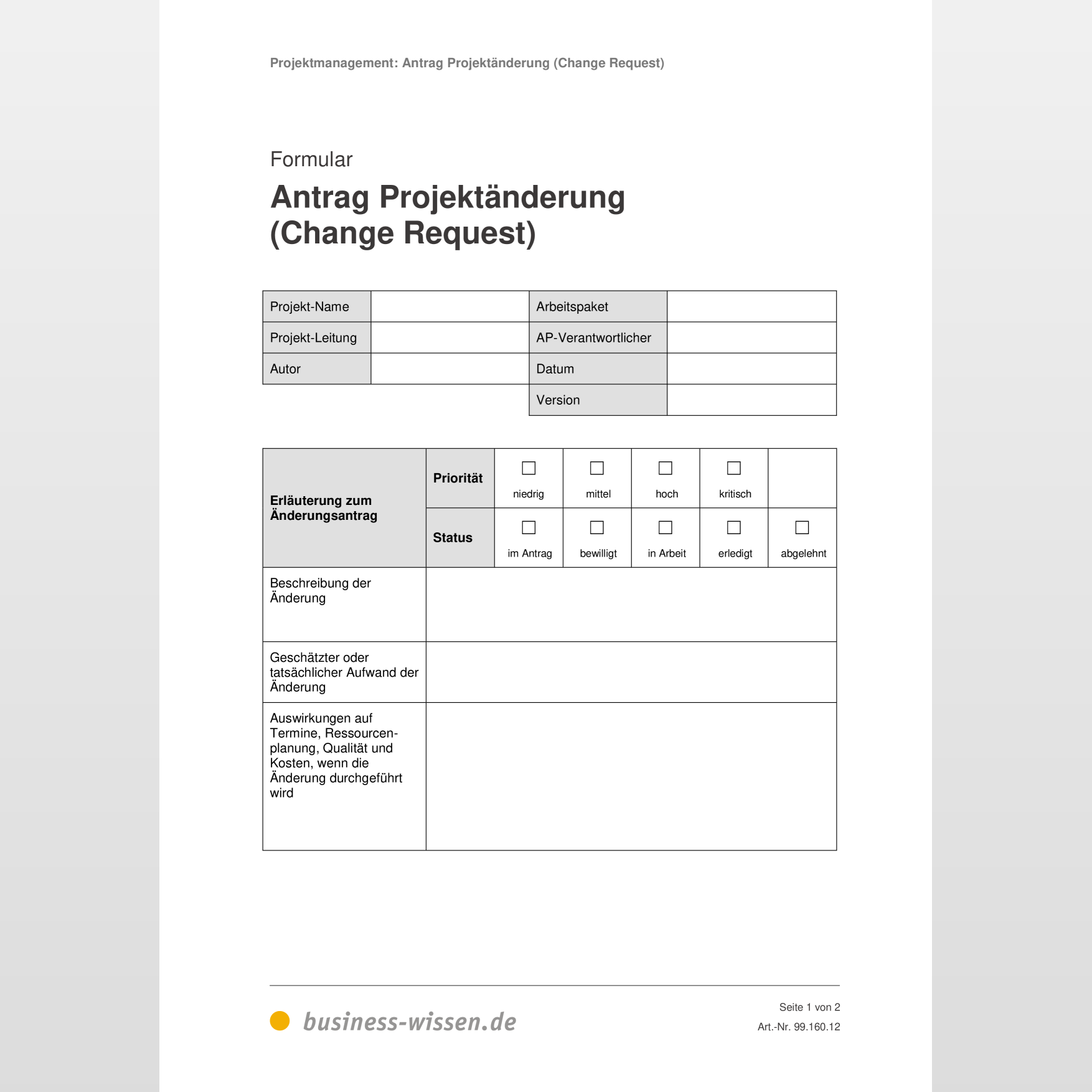 Change Request Template Expert Program Management 12