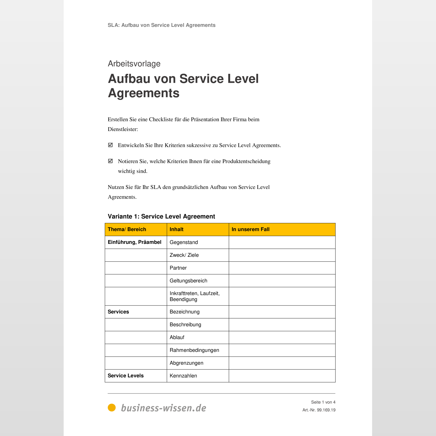 Service Level Agreement Sla Kapitel 169 Business Wissen De 6