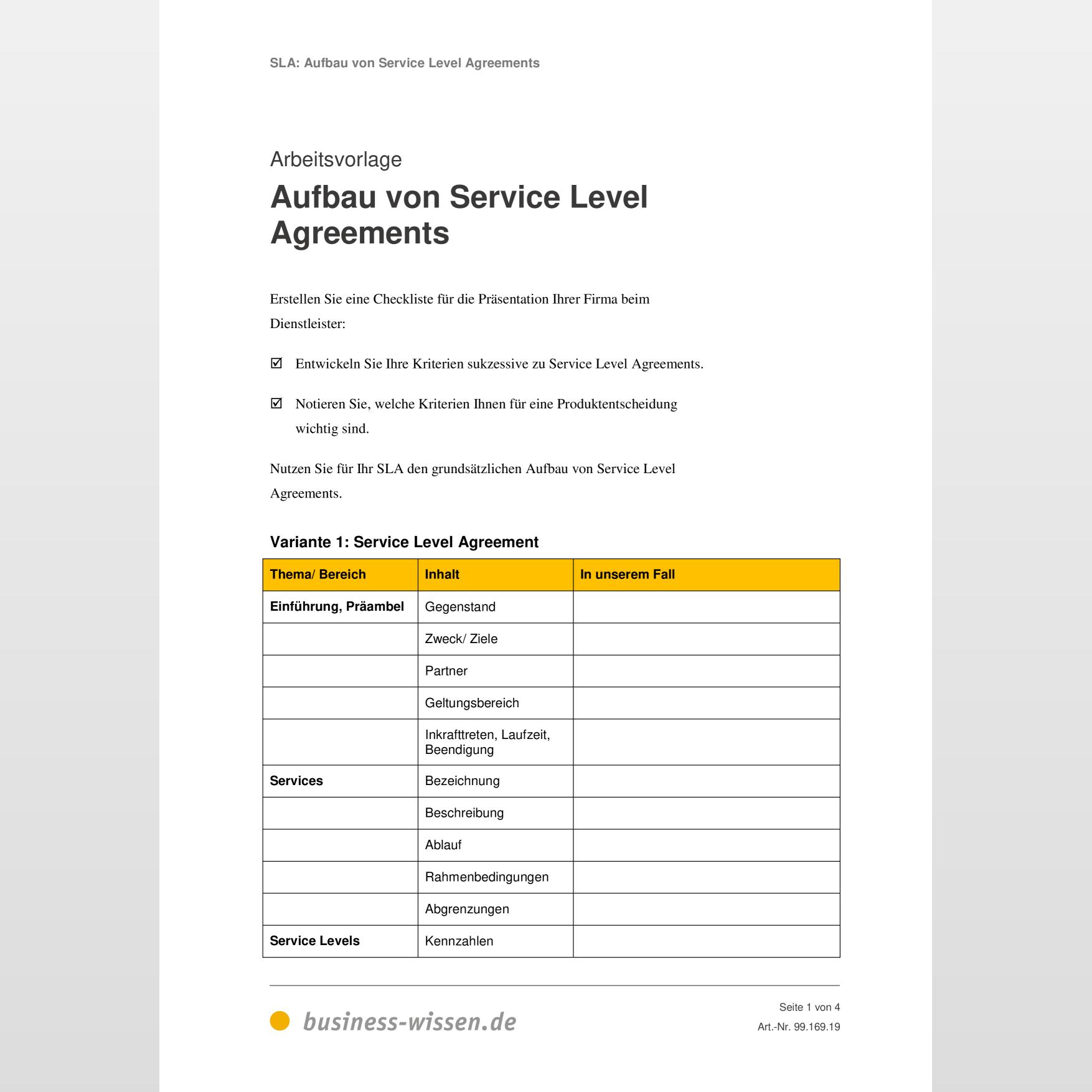 Service Level Agreement Sla Kapitel 169 Business Wissen De 6