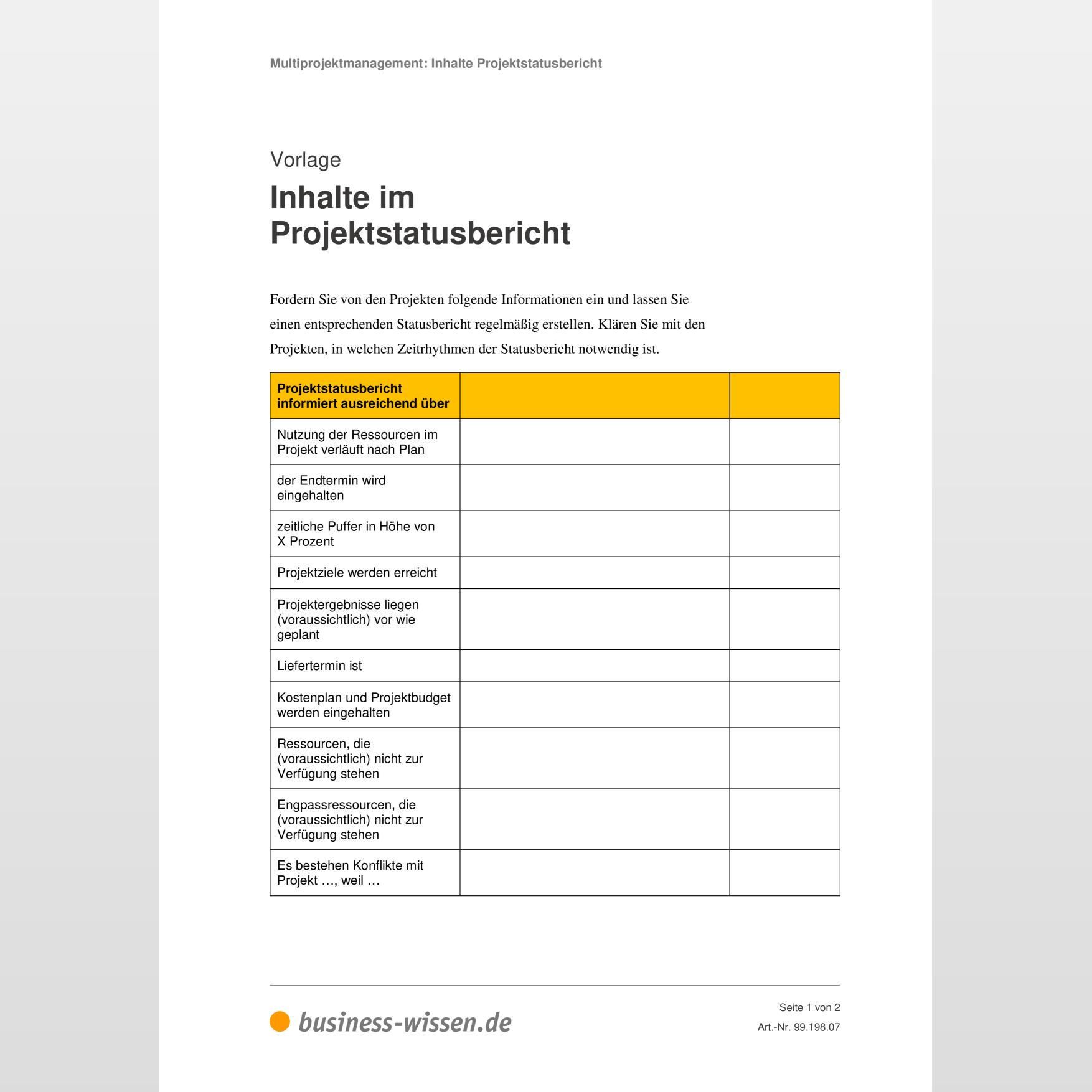 Projektstatusbericht Ergebnisse Und Bewertung 9