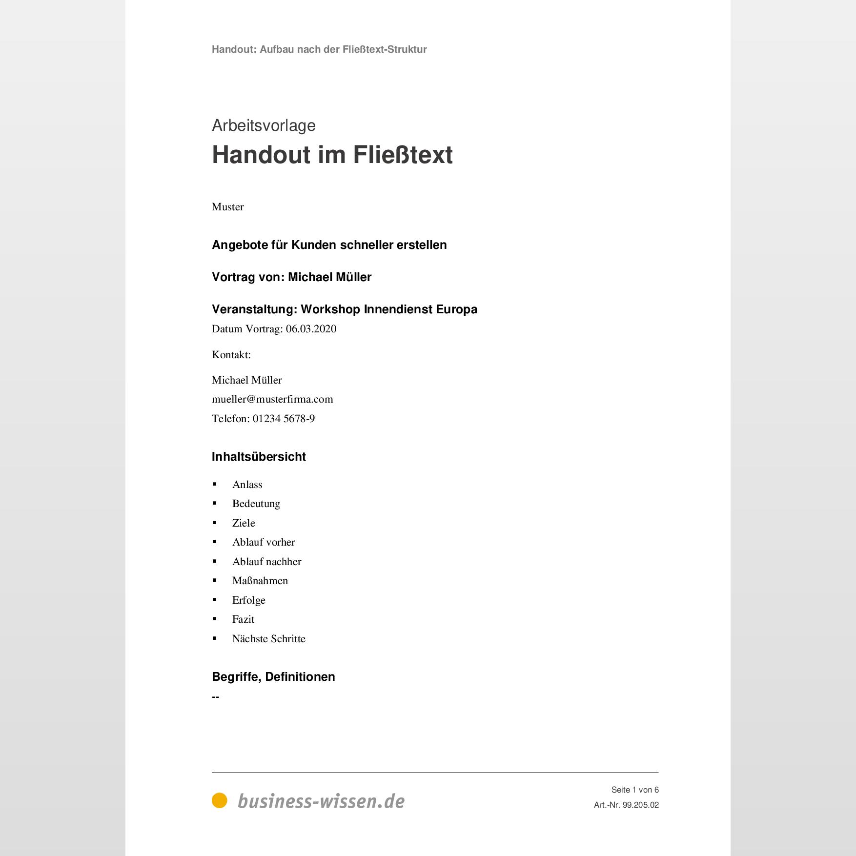 Handout Tipps Zum Aufbau Beispiele Und Muster 3